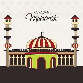 stock photo of ramazan mubarak  - illustration of a colorful mosk for Ramadan Mubarak - JPG
