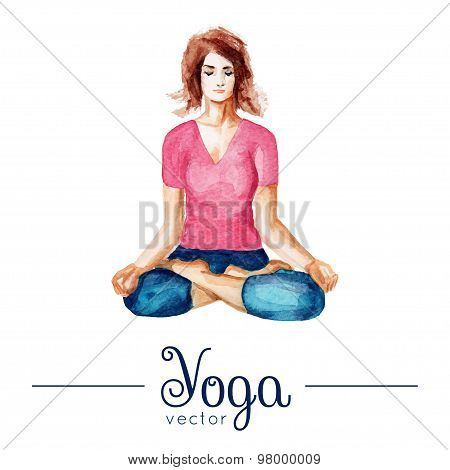 Girl in yoga pose. Illustration with watercolor texture.
