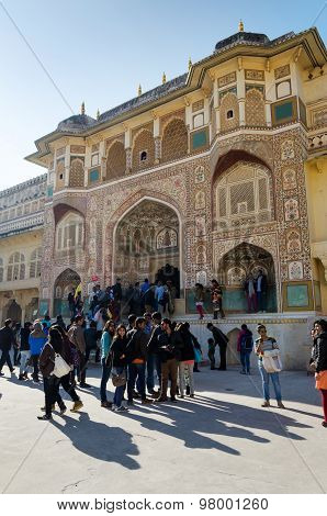 Jaipur, India - December 29, 2014: Tourists Visit Amber Fort In Jaipur, Rajasthan, India