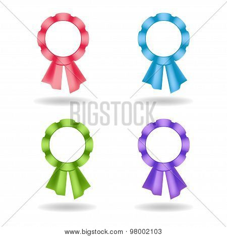 Set of vector rosettes. Decoration from rose, blue, green, violet ribbons.