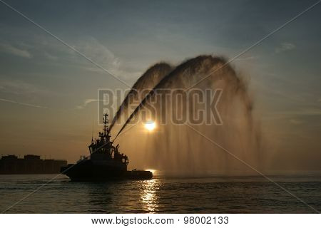Water cannon in action
