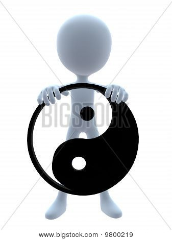 3D Guy With A Yin Yang Symbol