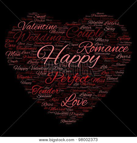 Concept or conceptual red love or Valentine`s Day wordcloud text in shape of heart symbol isolated on black background