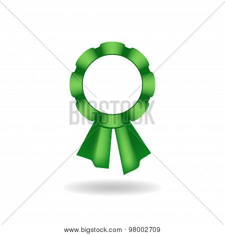 Vector rosette. Decoration from green ribbon.
