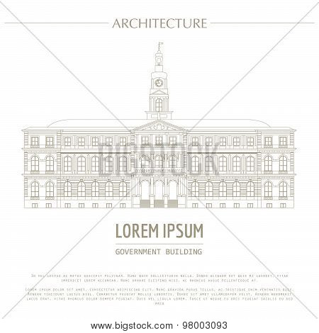 Cityscape graphic template. Modern city architecture. Vector illustration of Government building