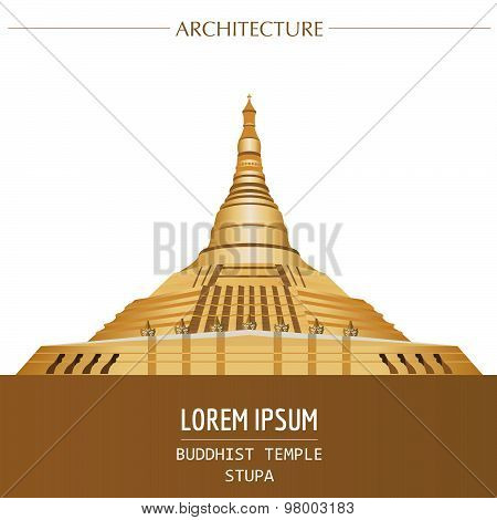Cityscape graphic template. Modern city architecture. Vector illustration of Buddhist temple, stupa