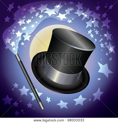 Wizards Hat And A Magic Wand On Stars Background. Vector Illustration.