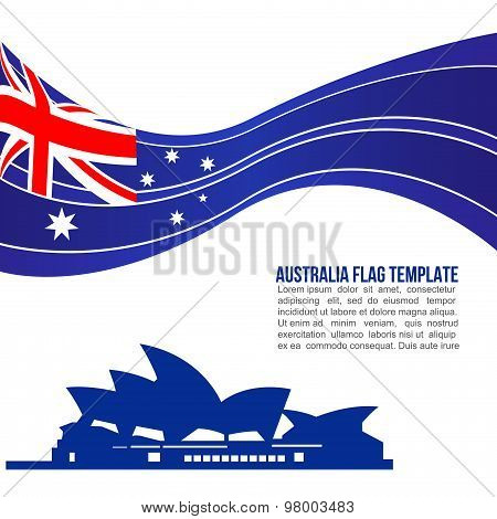 Australia flag wave and opera house symbols