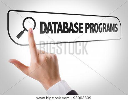 Database Programs written in search bar on virtual screen