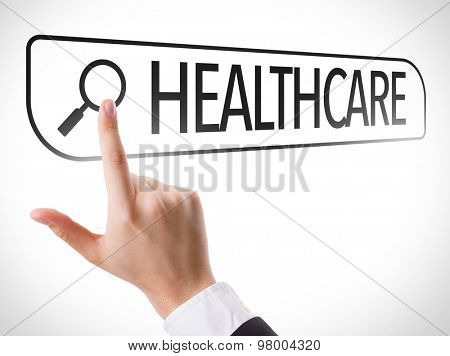 Healthcare written in search bar on virtual screen