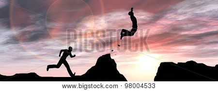 Concept or conceptual young 3D man or businessman silhouette jump happy from cliff over  gap sunset or sunrise sky background banner