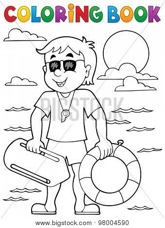 Coloring book life guard theme 1 - eps10 vector illustration.