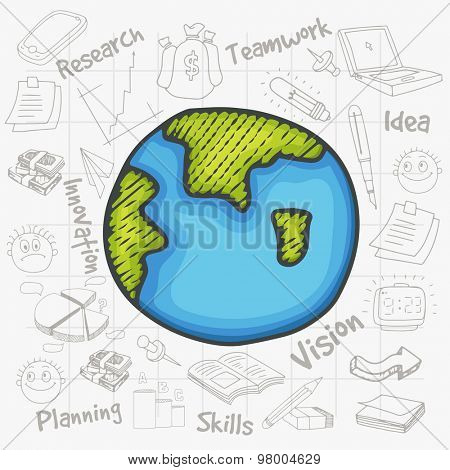 Creative illustration of mother earth globe with various business infographic elements created on notebook paper background.