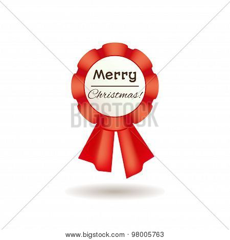 Red rosette for Merry Christmas design.