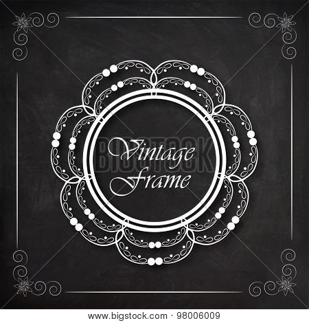 Floral design decorated beautiful rounded vintage frame, can be used as greeting card or invitation card design for every event.