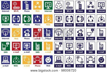 Icons Internet And Telephone