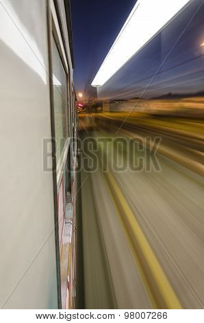 Train At Full Speed Crossing The Station