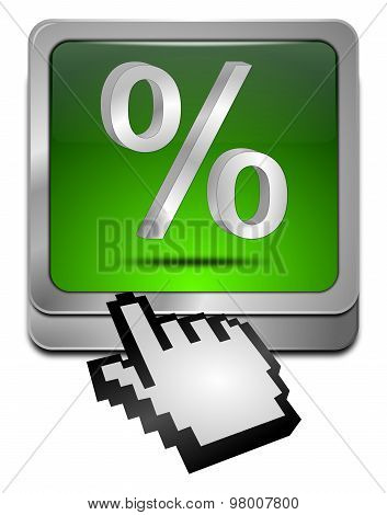 Discount button with percent Symbol with cursor
