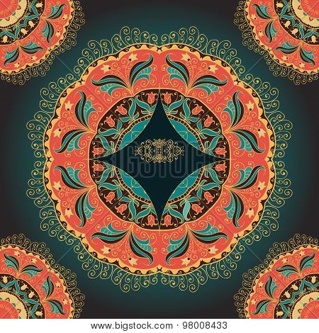Seamless pattern or card with mandala.