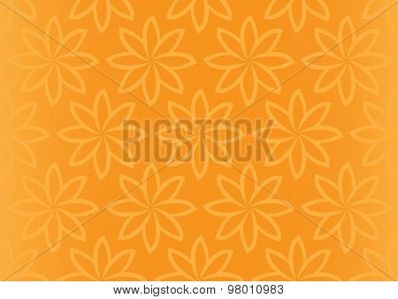 Orange Floral Repeat Pattern Seamless Vector Background Design