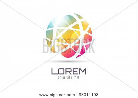 Vector globe abstract logo template. Circle round shape and earth symbol, geometric icon, creative idea or flow, lines, web net. Company logotype. Stock illustration