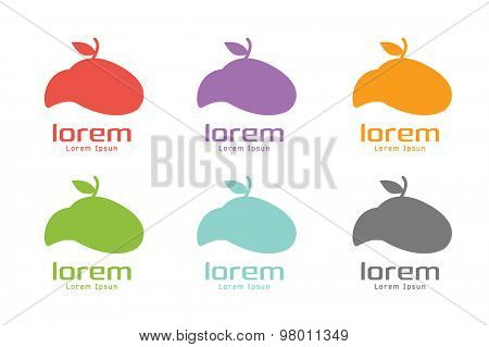 Vector apple abstract logo template set. Green nature shape and fruit fresh symbol, icon, food or vegetarian, eco. Company logotype. Stock illustration