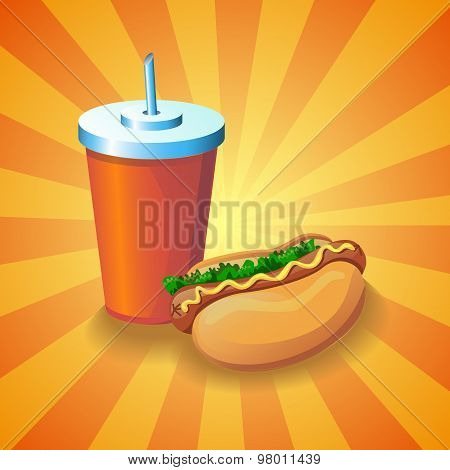Cola and hot dog