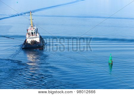 Small Tug Boat Goes On A Fairway