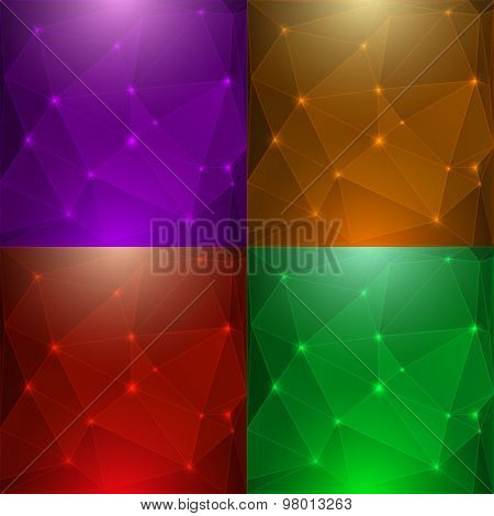 Abstract glossy gold vector background set