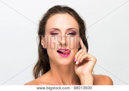 Beautiful Girl. Isolated On A White Background. Perfect Skin. Beauty Face. Professional Makeup