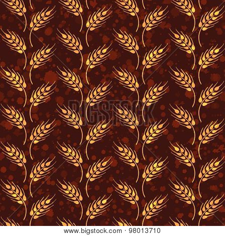 Seamless Pattern With Rows From Yellow Wheat. Brown Agricultural Paper About Harvest