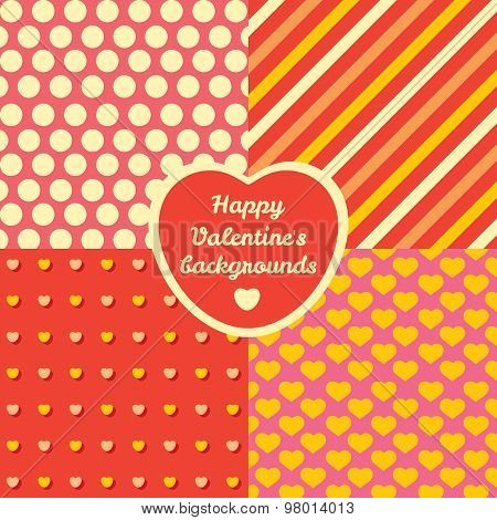 Valentine Day four pattern set. Cards backgrounds or prints for packing presents.
