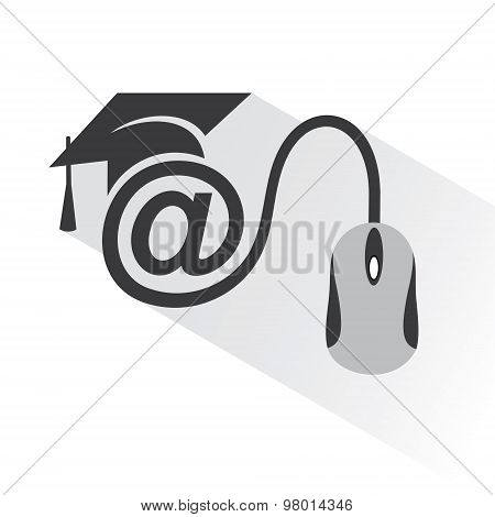e-learning concept with graduation cap and computer mouse stock vector