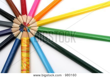 Wooden Color Pencils Around Of Of The Wooden Competitor