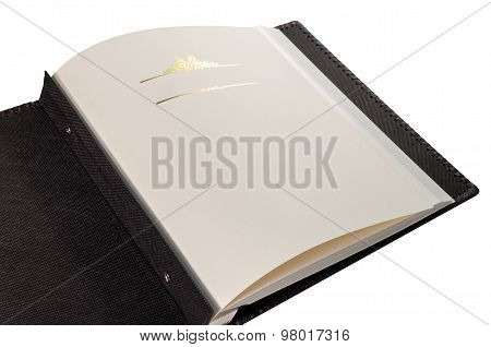 Opened Book With Blank Pages And Decorative Frame For Text
