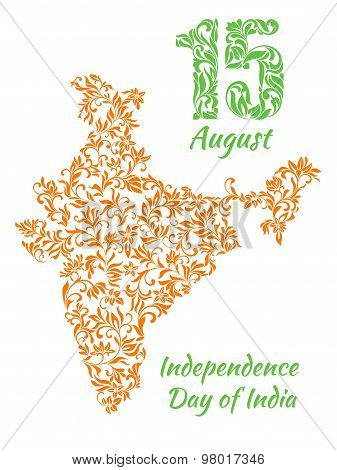 The Poster For August 15, India's Independence Day With A Map From A Floral Ornament. Elegant Decora