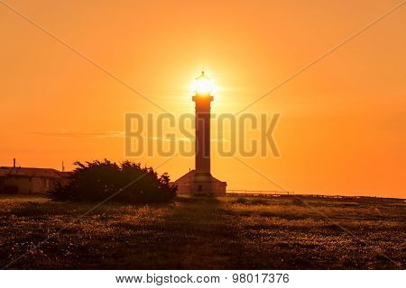 Lighthouse sun beam