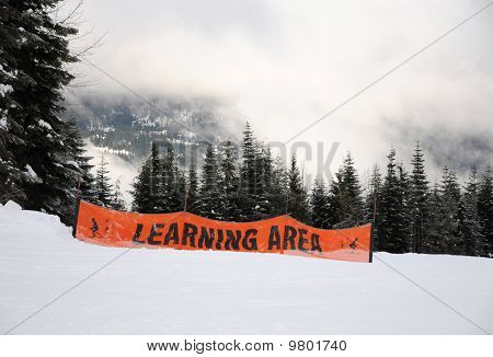 Learning Area Sign At Ski Resort