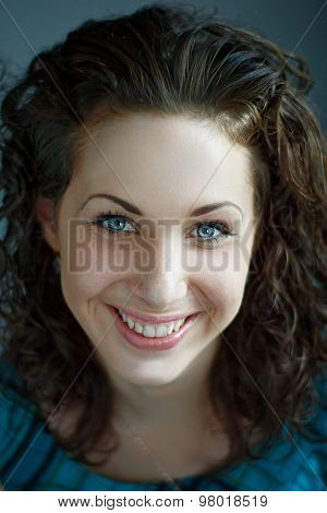 portrait of attractive caucasian smiling woman
