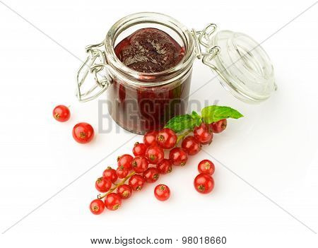 Red Currant Jam In Glass Jar