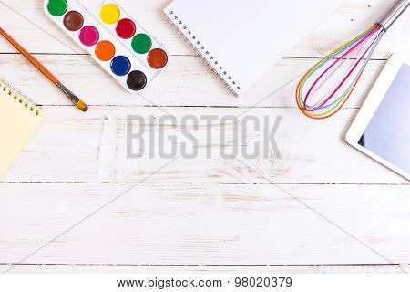 Sketch Pad With Paints, Brush, Whisk And Tablet