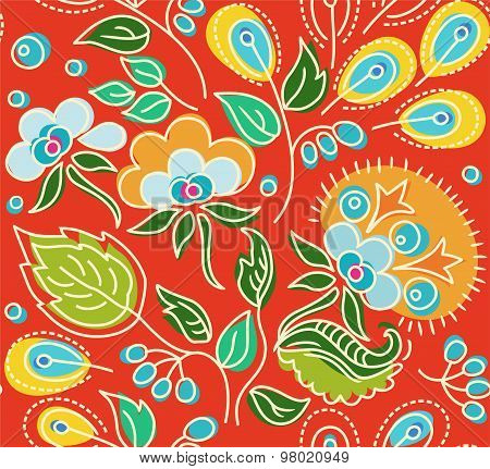 Seamless Red Pattern Of Flowe...
