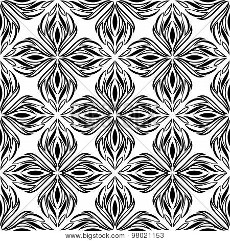 Seamless Pattern With Black Tracery On A White Background