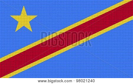 Flags Congo Democratic Republic With Abstract Textures. Rasterized