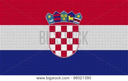 Flags Croatia With Abstract Textures. Rasterized