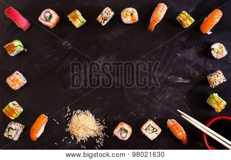 Sushi Set On Dark Background. Minimalism