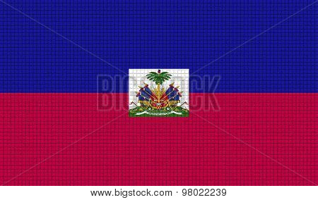 Flags Haiti With Abstract Textures. Rasterized