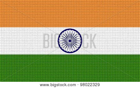 Flags India With Abstract Textures. Rasterized