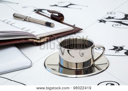 Cup Of Coffee, Note Pad, Closeup