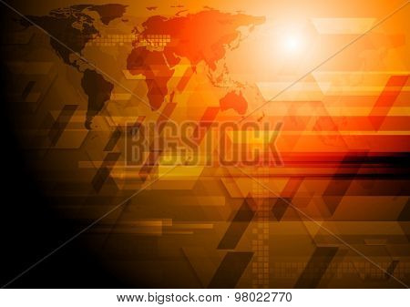 Dark tech background with world map. Vector art design illustration